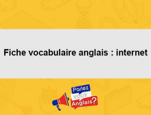 Fiche vocabulaire anglais : internet